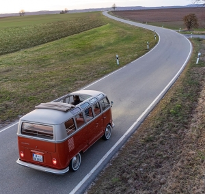 VW eBULLI concept electric bus on rural road