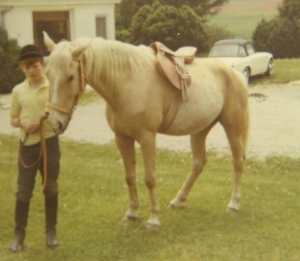 Datsun 2000 in the background of a palomino horse and William West Hopper, Circa 1969