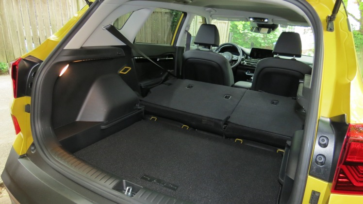 2021 Kia Seltos Rear Cargo area with the floor lowered