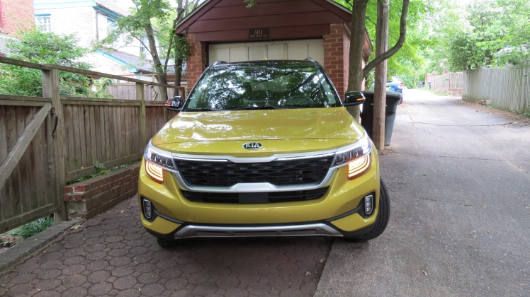 2021 Kia Seltos in Starbright Yellow has a large hood