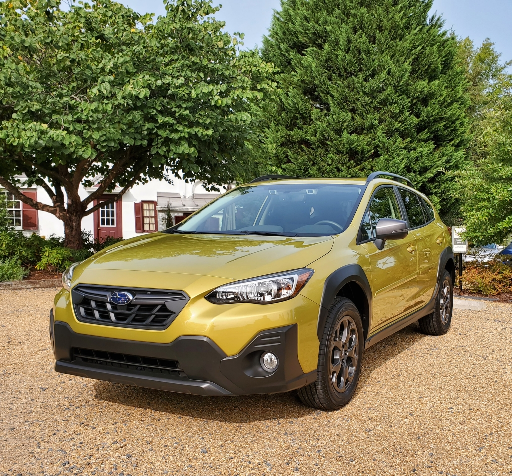 The 2021 Subaru Crosstrek outfitted with accessories in Plasma Yellow.