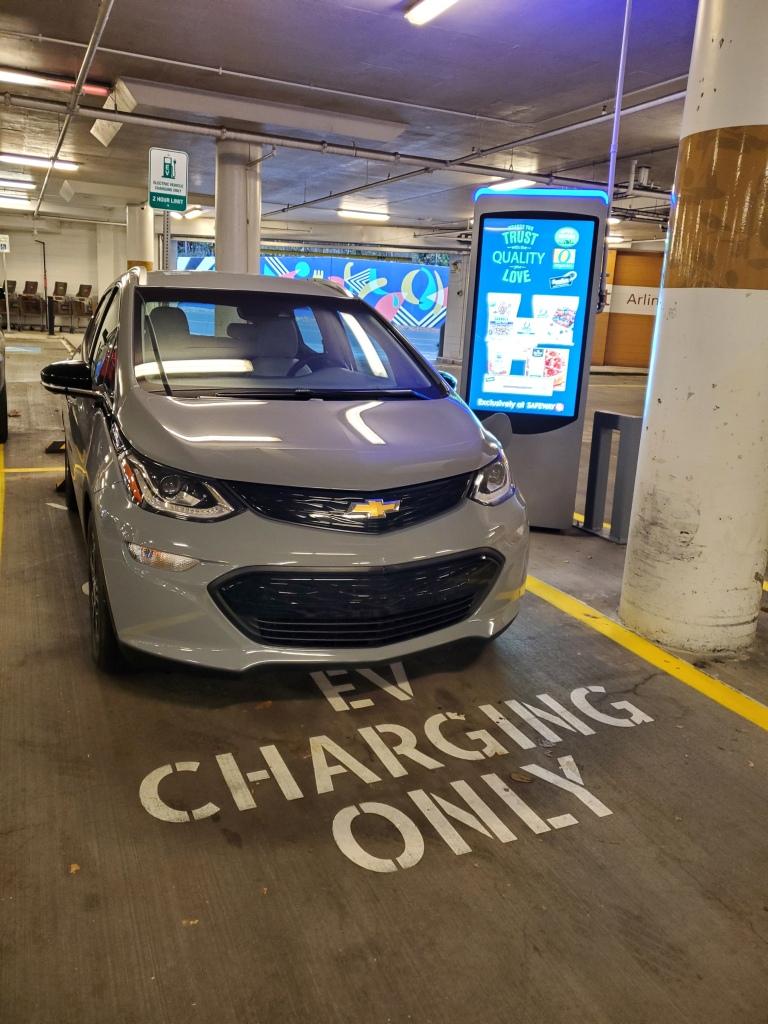 Chevrolet Bolt EV Charging at a Safeway Store Volta Charger