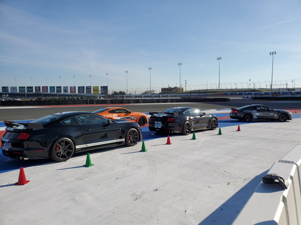 SHELBY GT 500 vehicles ready for drivers to go out on the Charlotte Motor Speedway Track for the GT 500 North American Track Tour