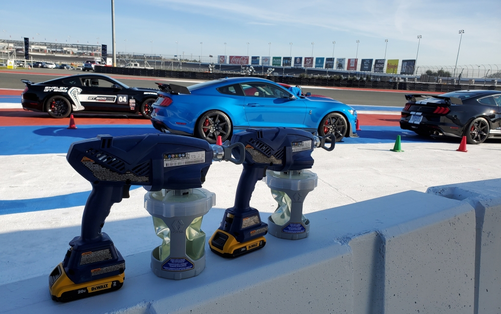 Sprayers used to sanitize the 2020 Ford Mustang SHELBY GT 500 between drivers. at the Charlotte Motor Speedway.