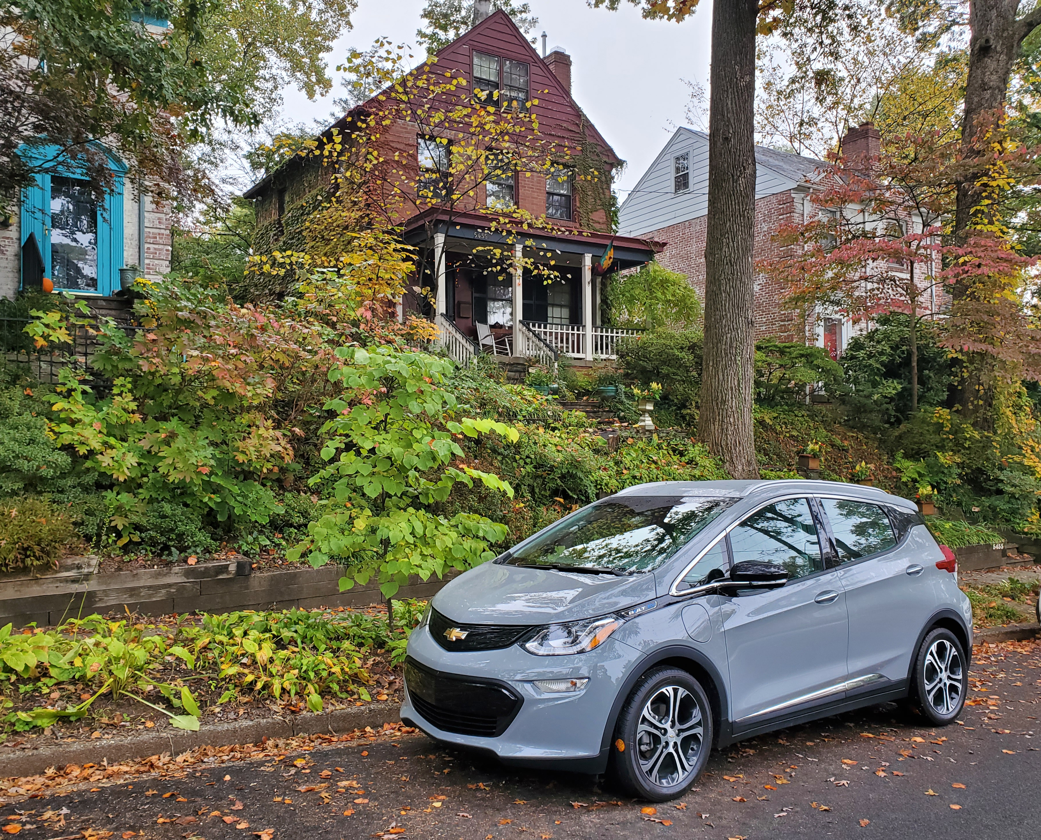 A Slate Gray Metallic 2020 Chevrolet Bolt EV was dropped off in Chevy Chase DC for a week for a Queer4Cars Review