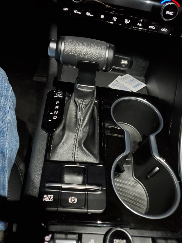 The 2021 Kia K5 comes with a T-handle automatic transmission shifter.
