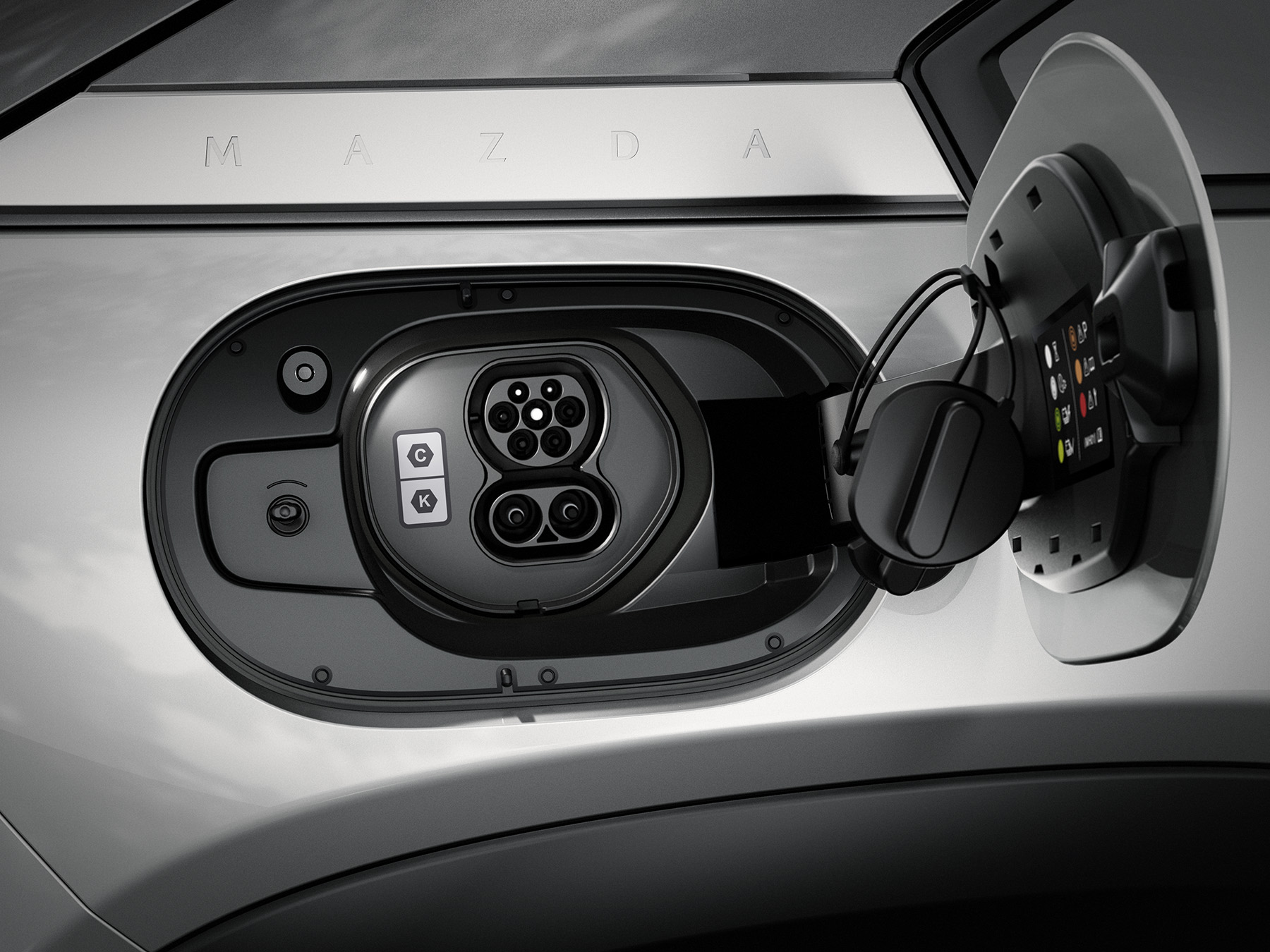 The Mazda MX 30 has a 1772 and a CMS connector level 1 and 2 charge port
