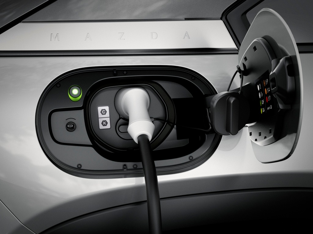1772 charge cord plugged into the Mazda MX 30