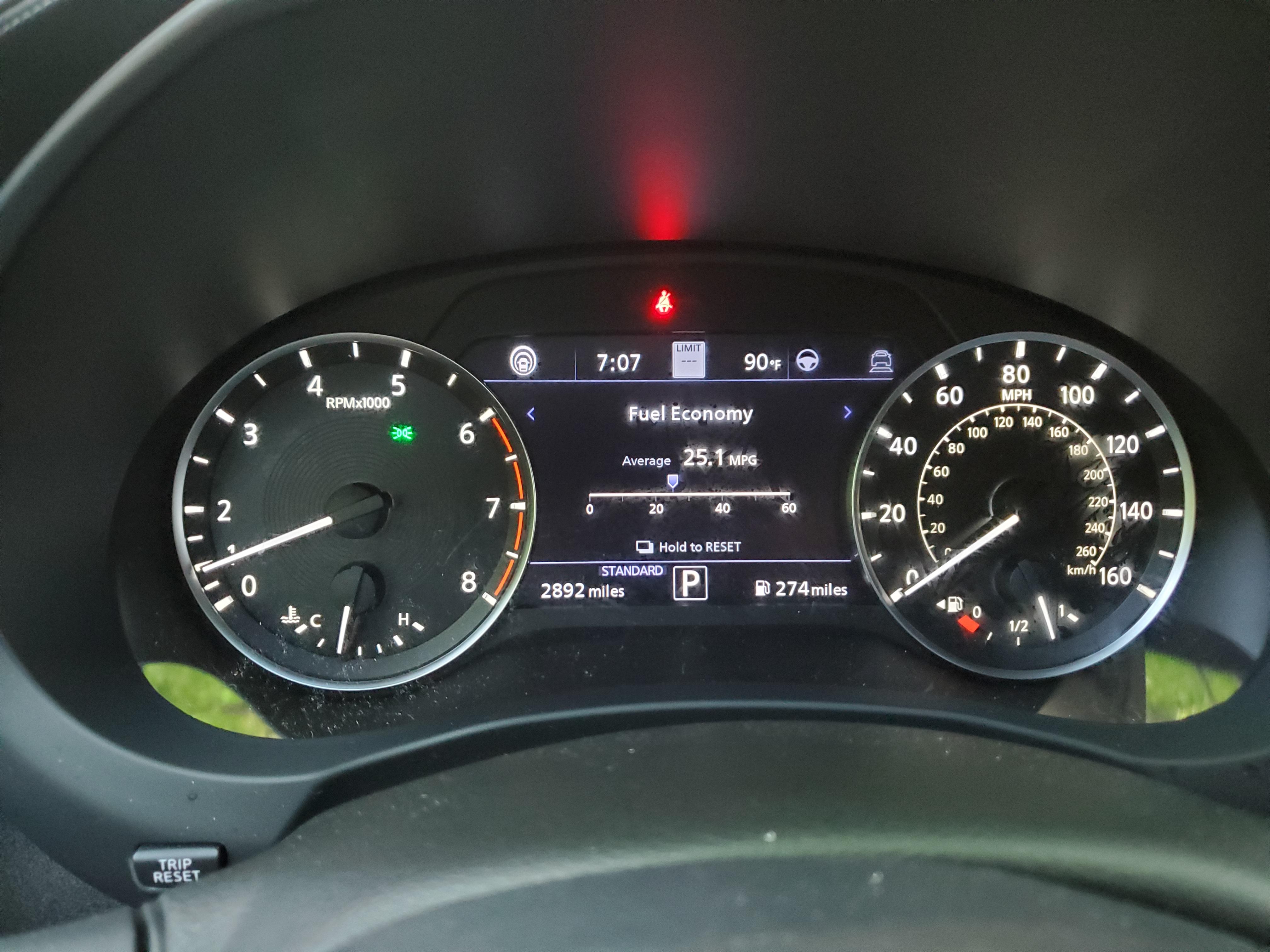 Infiniti QX55 Fuel Economy gauge