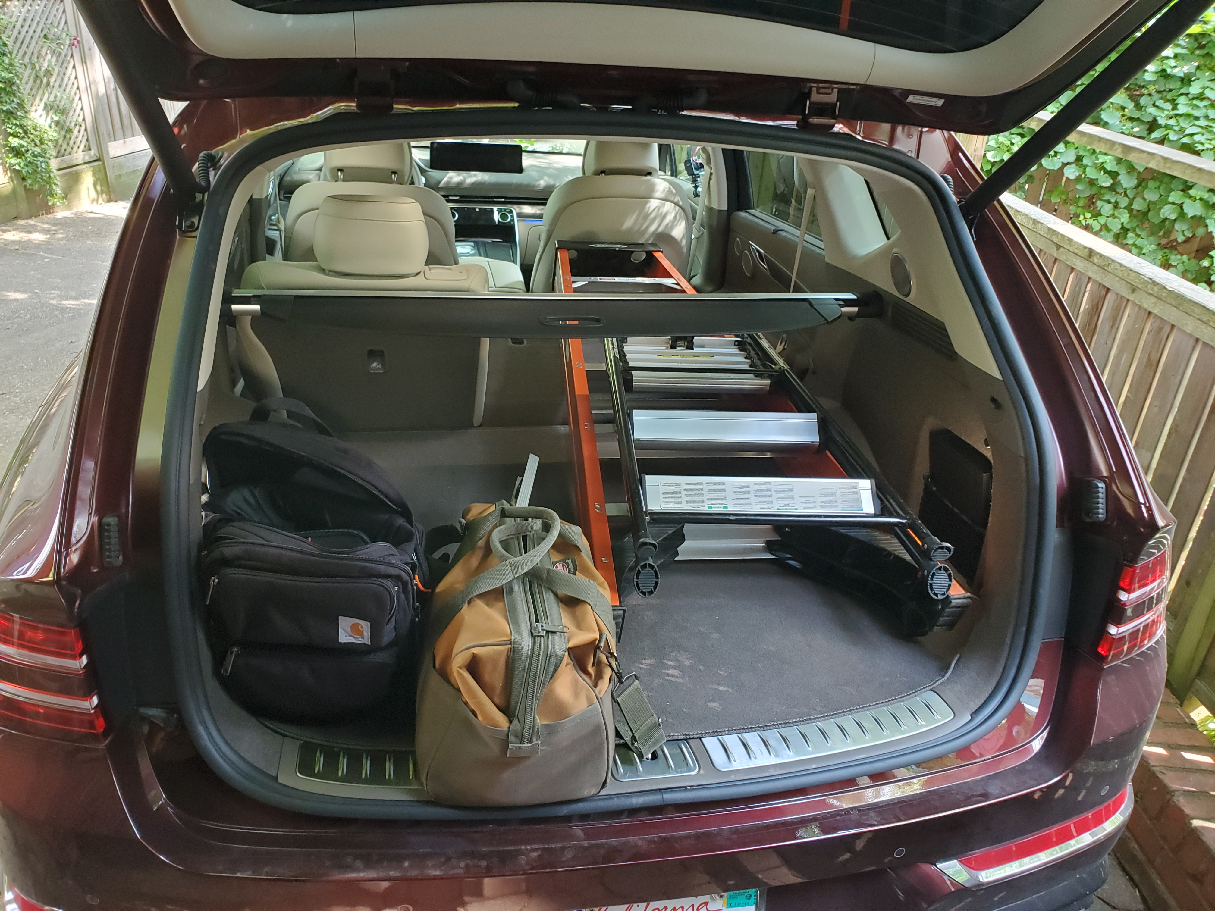 Genesis GV80 cargo area with six foot ladder